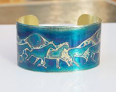 "Pin it if you love it!!  Fabulous cuff for horse lovers! ETCHED BRASS, 1.5"" wide  Running Horses Handmade Joann Hayssen SRA,  $35.00  15% of the purchase price to be donated to Rosemary Farm horse rescue and sanctuary!!"