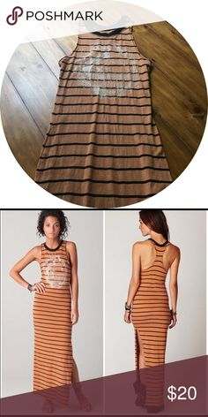 We The Free Lunar Maxi Dress Camel color with black stripes and white graphic Free People Dresses Maxi