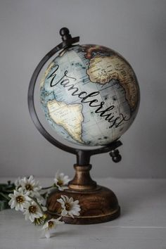 Wanderlust Small Gray Globe Calligraphy Travel Quotes Wooden Base Cream - My best home decor list Globes Terrestres, Foto Blog, Map Globe, Globe Art, Travel Themes, Oeuvre D'art, Travel Quotes, My Room, Travel Inspiration