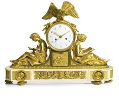 A LOUIS XVI GILT-BRONZE AND WHITE MARBLE MANTEL CLOCK, 'ETUDES ET LA PHILOSOPHIE', AFTER FRANCOIS REMOND AND LOUIS-SIMON BOIZOT, FRENCH, CIRCA 1790 6-inch enamel dial signed Le Roy, concentric date, finely pierced and engraved hands, the bell striking movement with star cut outside count wheel and silk suspension, the drum surmounted by an eagle and flanked by seated figures, the breakfront plinth mounted with masks and scrolls