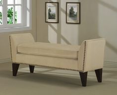 @Overstock - Create an inviting place to sit and soak up the sun with this cushioned nailhead bench. The deep espresso stain on the legs add a sharp contrast to the creamy sand tone of the fabric. This bench is sure to add a sophisticated air to any sitting room.http://www.overstock.com/Home-Garden/Sand-Phoenix-Bench-with-Nailheads/3427949/product.html?CID=214117 $165.99