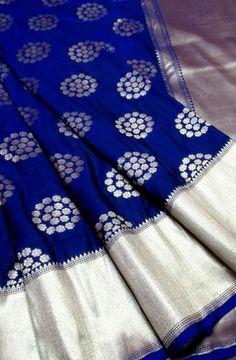 Blue Handloom Banarasi Georgette Silk Saree