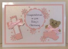 Handmade christening card with lace dress