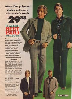 "Men's clothing got tighter and tighter. A large portion of the clothes from this era were made of polyester or a blend of cotton and polyester. Later in the decade, velour and terry cloth became a very popular choice of fabric for men's shirts. The leisure suit, which was introduced around 1972, exploded in popularity after John Travolta's smash hit ""Saturday Night Fever.""  http://www.retrowaste.com/1970s/fashion-in-the-1970s/1970s-fashion-for-men-boys/"