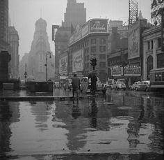 Times Square on a rainy day, NY  photo by John Vachon, 1943