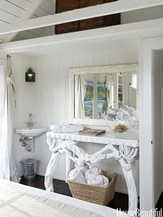 Sink Outside the Bathroom, such a smart idea for a cottage to maximize space.