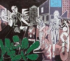 """""""Broadway Market"""" by Michael Kirkman (linocut)"""