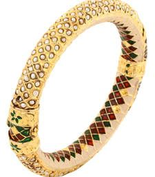 Buy PURE Collection Pearl Gold Plated Meena Enamel Ethnic Antique Clutch Bracelet For Women bangles-and-bracelet online
