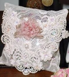 Large Roses Victorian Ribbon Roses Sachet 12594 by rosepretties,shabby⚜️ Muebles Shabby Chic, Estilo Shabby Chic, Shabby Chic Style, Shabby Chic Pillows, Shabby Chic Crafts, Shabby Chic Decor, Sachet Bags, Pearl And Lace, Creation Couture