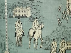 Horse hunt fabric blue equestrian toile from Brick House Fabric: Novelty Fabric Fabric Rug, Pillow Fabric, Chair Fabric, Pillows, Horse Barns, Horses, French Country Fabric, Blue And White Wallpaper, Equestrian Decor