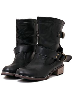 Shop Black Buckle Strap PU Boots online. SheIn offers Black Buckle Strap PU Boots & more to fit your fashionable needs.