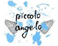 """Vector illustration with the words """"Little angel"""" in Italian and hand-drawn wings. Handwritten text is editable"""