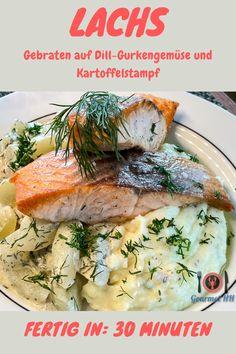 Lachs, Dill, Gurke und Kartoffelstampf - lecker wie bei Mutti. Schnell und einfach! #Lachs #Gurke #Schmorgurke #Fisch, #Kartoffelstampf Salmon, Food And Drink, Chicken, Recipes, Gourmet, Warm Food, Households, Simple Recipes