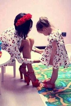 I wouldn't wear cherries but the idea is cute and I love her heels lol Baby Girl,Fashion kids,Maybe Someday, Mother Daughter Matching Outfits, Mother Daughter Fashion, Mommy And Me Outfits, Mom Daughter, Mother And Child, Daughters, Twin Outfits, Fashion Kids, Mommy Fashion