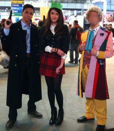 Clara, Jack and Six. by JustARandomCosplayer.deviantart.com on @DeviantArt Sixth Doctor Clara Oswin Oswald and Captain Jack Harkness Doctor Who Cosplay Costume.