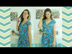Como fazer vestido transpassado com elástico na cintura - costura super fácil   Ellen Borges - YouTube