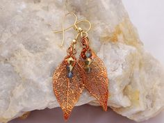 Natural Elm Leave Earrings in Copper by OnlyOneJewelryDesign, $17.00