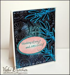 Vicki Dutcher: All I Do Is Stamp – Dazzling Divas #30 - 6/18/14.  (Gina K.: Elegant Florals.  Add a Little Dazzle: Perfect Peacock Metal Sheet).  (try using Faux Metal Technique instead of metal sheets).  (Pin#1: Faux Metal.  Pin+: Backgrounds: Sponging).