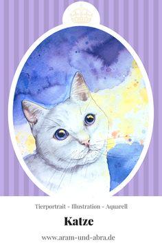 Zeichnung, Katze, Tierportrait, Aquarell, zeichnen, malen