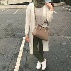 neutral olive with beige-Hijab street style looks – Just Trendy Girls