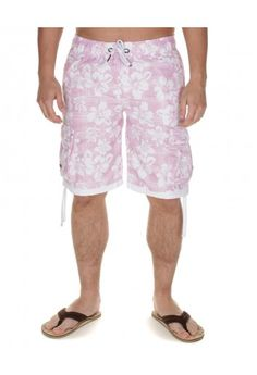 Retro Fire Grid Floral Swim Shorts Light Pink, NOW £5