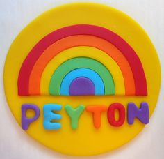 Fondant Cake Topper  Rainbow by CakesAndKids on Etsy
