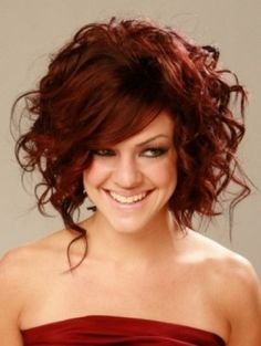 Cute Red Bob Curly Hairstyles Ideas