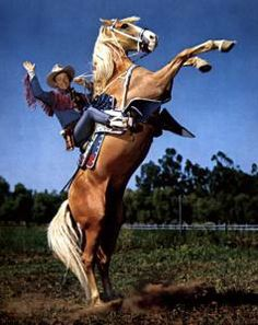 Roy Rogers and Trigger. Trigger (originally named Golden Cloud, was a hands inches, 160 cm) palomino horse made famous in American Western films with his owner and rider, cowboy star Roy Rogers. Palomino, Dale Evans, Real Cowboys, Tv Westerns, The Lone Ranger, Roy Rogers, Famous Movies, Western Movies, Old Tv Shows