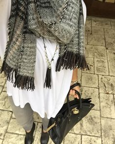 Such a unique scarf that @gingerbreadscloset picked up at TJ's. We love the tassel detailing!