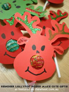 Reindeer with lollipop noses! Adorable craft to make with and give to kids.