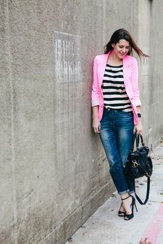 modcloth:    We love this look from Kendi of Kendi Everyday, hot pink and stripes are a match made in heaven!
