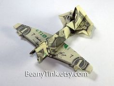 Single Engine Fighter Wwii Jet Fighter Money Origami - Dollar Bill Art - Military Gift For Army Navy Marines Air Force Soldier Airplane By Vincent-The-Artist, Usd Origami Dragon, Origami Fish, Oragami, Origami Paper, Heart Origami, Folding Money, Origami Folding, Paper Folding, Dollar Bill Origami