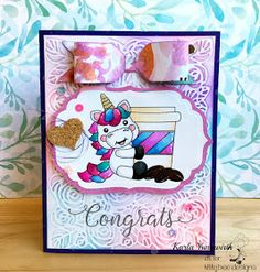 Unicorn Coffee Congrats Card using Kadoodle Bug Designs digital stamp, Your Next Stamp sentiment, Embossing folder and Distress Oxide Inks, and paper bow using 123 We R Memory Keepers punch