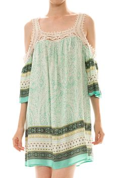 Print Crochet Trim Cold Shoulder Dress