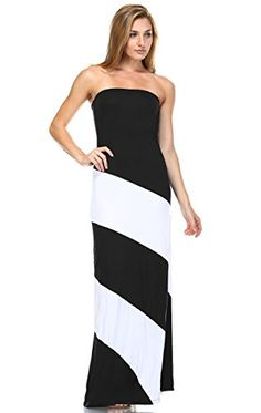 Zoozie LA Womens Strapless Maxi Dress Tube Top Colorblock DoubleLined Black L * Check this awesome product by going to the link at the image.