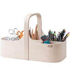 Designer: Tuuli Burman, Tuttu Sillanpää Material: birch wood & wool felt KOPPA Tool box is made of birch plywood and has a removable grid and soft wool f Wood Tool Box, Wood Tools, Small Storage, Storage Boxes, Storage Ideas, Charles Ray Eames, Bauhaus, Burmilla, By Lassen