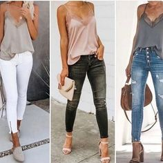or 3 ? Jean Outfits, Casual Outfits, Rome Fashion, White Jeans Outfit, Moda Casual, Grey Top, Outfit Of The Day, Ideias Fashion, Capri Pants