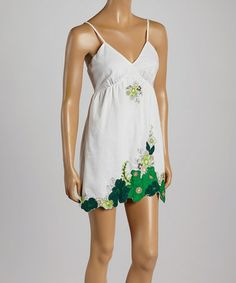 Loving this Green Floral Embroidered V-Neck Dress on #zulily! #zulilyfinds