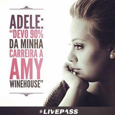 """#Adele: """"Devo 90% da minha #carreira a #Amy #Winehouse"""" Em #show nos Estados Unidos, #cantora contou como foi influenciada pela finada artista britânica, que teria feito 33 anos de idade esta semana. #Livepass #amywinehouse"""