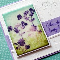 i make cards.: frosted glass using Hero Arts With Sympathy set.  Great idea to turn the flower stamp upside down then stamp with green ink to fill in and look like grass!  Just bought this set and can't wait to try it!