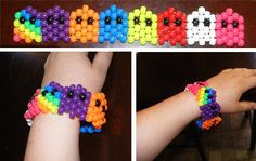 PacMan Ghosties Kandi Bracelet by Pony Bead Patterns, Kandi Patterns, Beading Patterns, Bracelet Patterns, Stitch Patterns, Kandi Mask, Kandi Cuff, Edm Festival, Festival Outfits