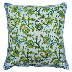 Cheap Throw Pillow: WHITE FLORAL BLOCK PRINTED DECORATIVE COTTON THROW PILLOW COVER Bed Decor #Handmade Cheap Throw Pillows, Toss Pillows, Throw Pillow Covers, Indian Pillows, Indian Block Print, Pillow Shams, Printed Cotton, Cushions, Floral