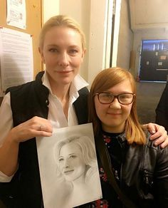 Cate receiving artwork of herself from the artist at The Ethel Barrymore Theatre NYC Wednesday 4th Jan 2017