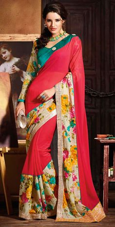 USD 56.77 Cherry Red Georgette Wedding Party Wear Saree 42729