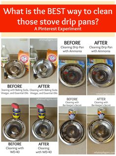 What's the best way to clean stove drip pans? I experimented to find out! Clean drip pans with ammonia, WD-40, baking soda, vinegar, and Bar Keeper's friend