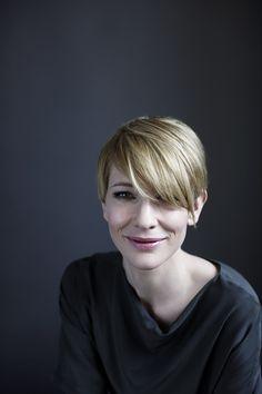 Cate Blanchett by Hugh Stewart, short blond hair, grey tee