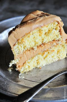 Butter Cake with Salted Caramel Buttercream Frosting by @addapinch | Robyn Stone