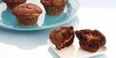 These muffins have the added kick of a ribbon of hazelnut (or almond) paste within it. When topped with a slathering of homemade chocolate hazelnut spread, these go well beyond a breakfast treat, into the world of desserts.