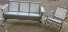Wonderful Old Metal Glider Restored Set For Porch And Patio