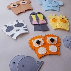 Jungle Animals Finger Puppets, Set of five felt finger puppets The Animals, Jungle Animals, Felt Animals, Felt Finger Puppets, Hand Puppets, Educational Toys For Toddlers, Toddler Activities, Sequencing Activities, Felt Board Templates